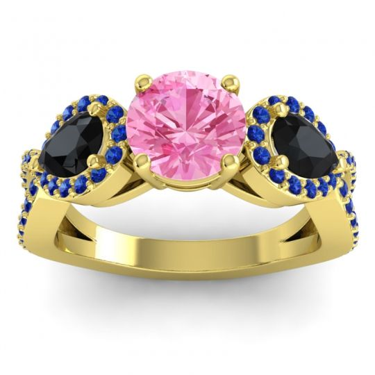 Pink Tourmaline Three Stone Pave Varsa Ring with Black Onyx and Blue Sapphire in 14k Yellow Gold