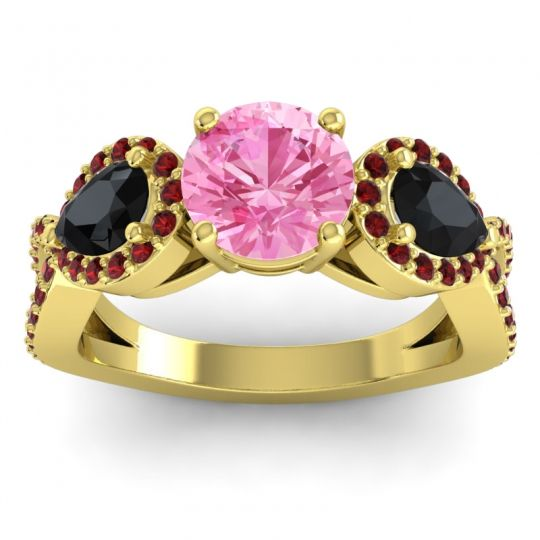Pink Tourmaline Three Stone Pave Varsa Ring with Black Onyx and Garnet in 14k Yellow Gold