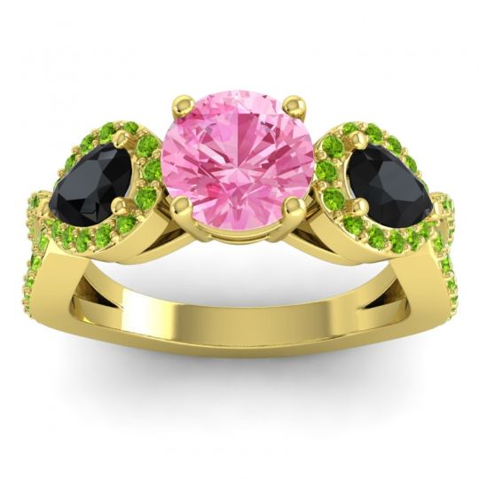 Three Stone Pave Varsa Pink Tourmaline Ring with Black Onyx and Peridot in 14k Yellow Gold