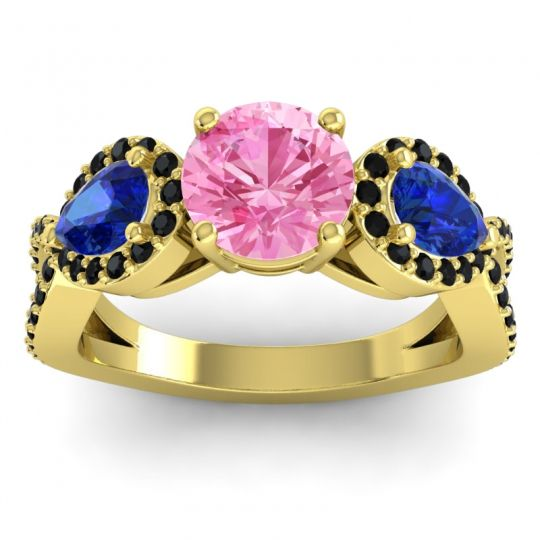 Pink Tourmaline Three Stone Pave Varsa Ring with Blue Sapphire and Black Onyx in 18k Yellow Gold