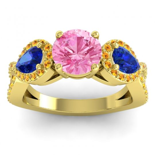 Pink Tourmaline Three Stone Pave Varsa Ring with Blue Sapphire and Citrine in 14k Yellow Gold
