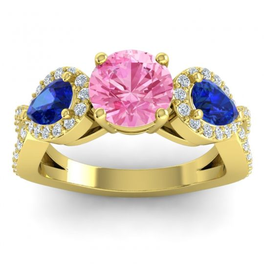 Pink Tourmaline Three Stone Pave Varsa Ring with Blue Sapphire and Diamond in 18k Yellow Gold
