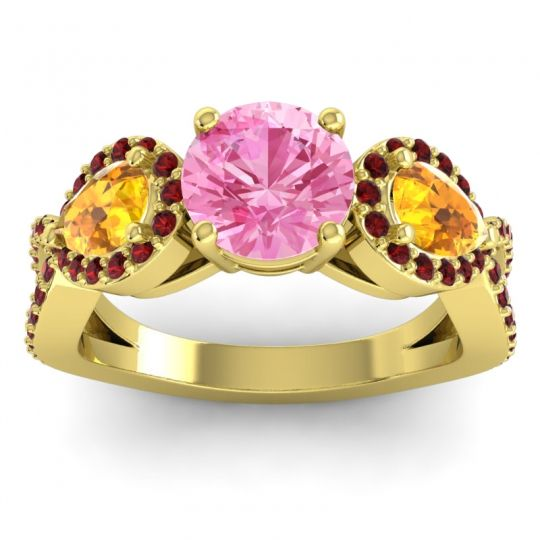 Three Stone Pave Varsa Pink Tourmaline Ring with Citrine and Garnet in 18k Yellow Gold