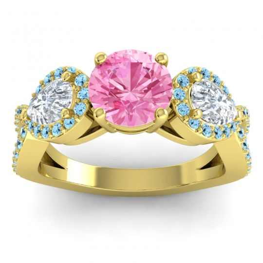 Pink Tourmaline Three Stone Pave Varsa Ring with Diamond and Aquamarine in 14k Yellow Gold