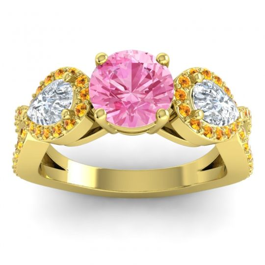 Pink Tourmaline Three Stone Pave Varsa Ring with Diamond and Citrine in 14k Yellow Gold