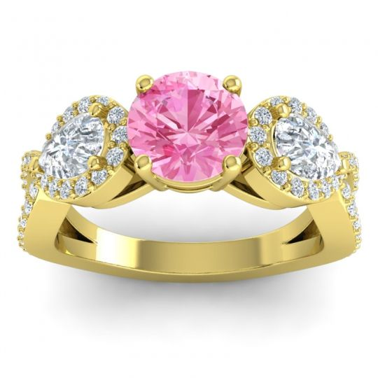 Pink Tourmaline Three Stone Pave Varsa Ring with Diamond in 14k Yellow Gold