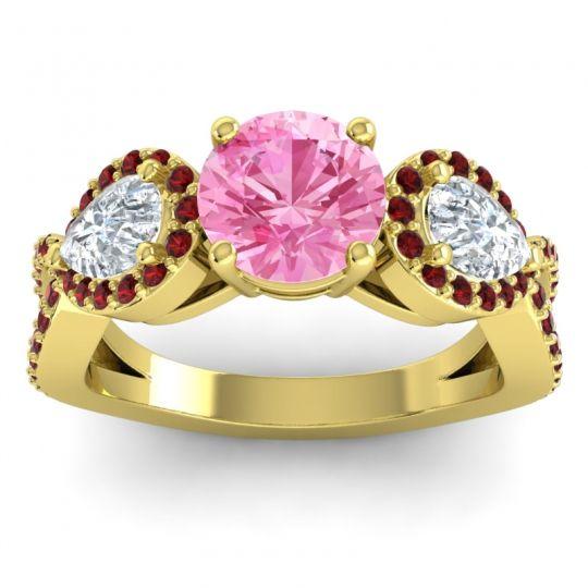 Pink Tourmaline Three Stone Pave Varsa Ring with Diamond and Garnet in 14k Yellow Gold