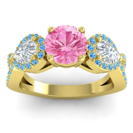 Pink Tourmaline Three Stone Pave Varsa Ring with Diamond and Swiss Blue Topaz in 14k Yellow Gold