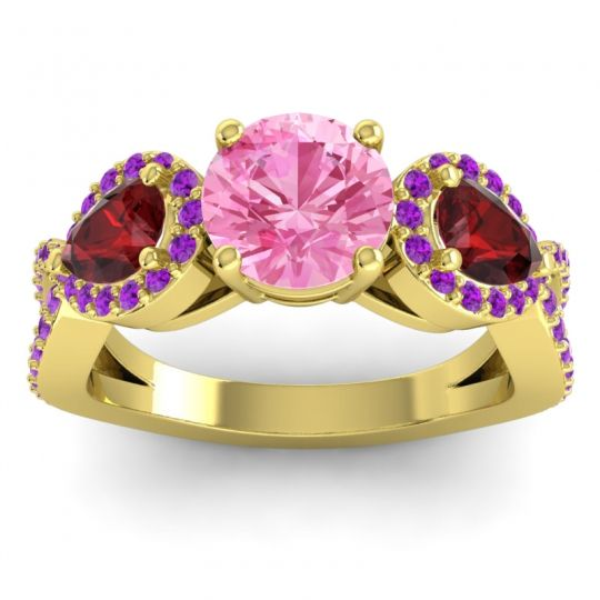 Pink Tourmaline Three Stone Pave Varsa Ring with Garnet and Amethyst in 18k Yellow Gold