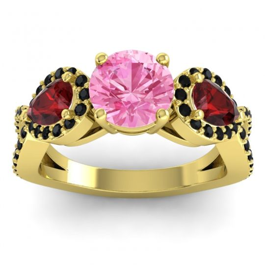 Pink Tourmaline Three Stone Pave Varsa Ring with Garnet and Black Onyx in 14k Yellow Gold