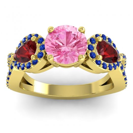 Pink Tourmaline Three Stone Pave Varsa Ring with Garnet and Blue Sapphire in 14k Yellow Gold