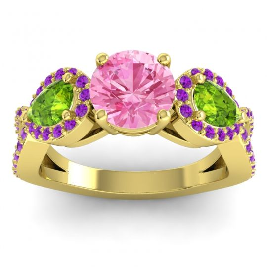 Pink Tourmaline Three Stone Pave Varsa Ring with Peridot and Amethyst in 14k Yellow Gold