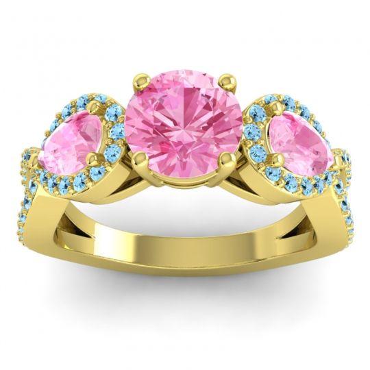 Pink Tourmaline Three Stone Pave Varsa Ring with Aquamarine in 18k Yellow Gold