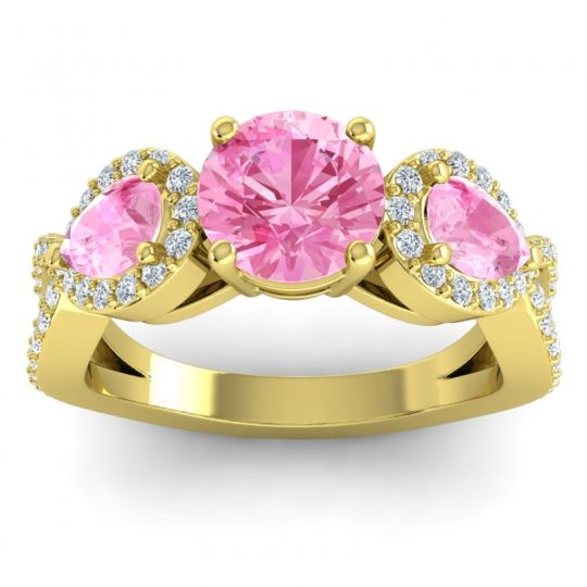 Pink Tourmaline Three Stone Pave Varsa Ring with Diamond in 18k Yellow Gold