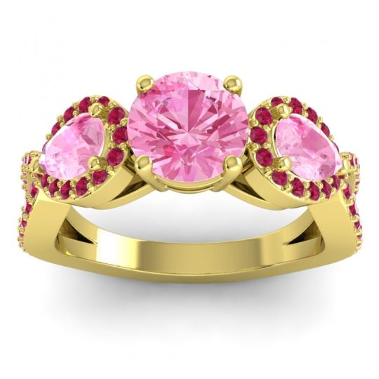 Pink Tourmaline Three Stone Pave Varsa Ring with Ruby in 14k Yellow Gold