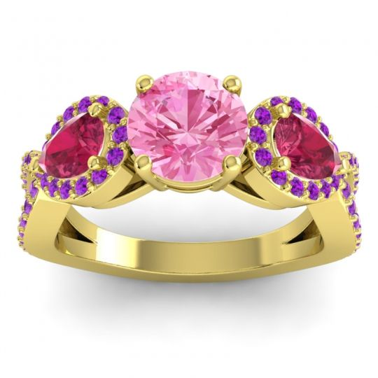 Pink Tourmaline Three Stone Pave Varsa Ring with Ruby and Amethyst in 18k Yellow Gold