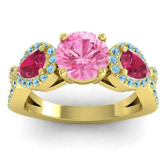 Pink Tourmaline Three Stone Pave Varsa Ring with Ruby and Aquamarine in 18k Yellow Gold