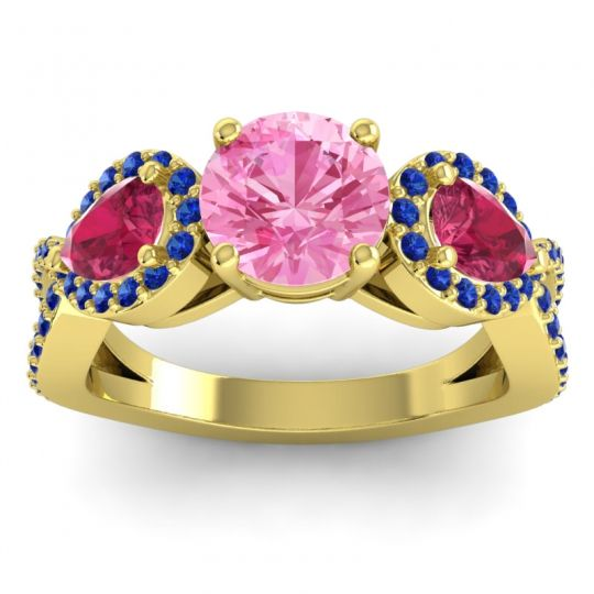 Pink Tourmaline Three Stone Pave Varsa Ring with Ruby and Blue Sapphire in 18k Yellow Gold