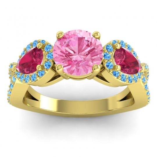 Pink Tourmaline Three Stone Pave Varsa Ring with Ruby and Swiss Blue Topaz in 14k Yellow Gold