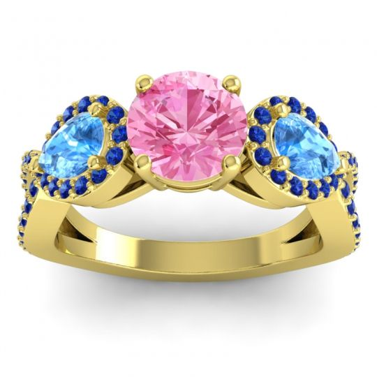 Pink Tourmaline Three Stone Pave Varsa Ring with Swiss Blue Topaz and Blue Sapphire in 18k Yellow Gold