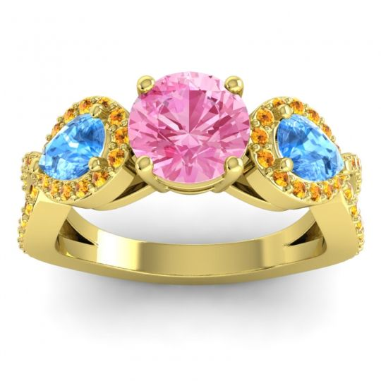 Pink Tourmaline Three Stone Pave Varsa Ring with Swiss Blue Topaz and Citrine in 18k Yellow Gold