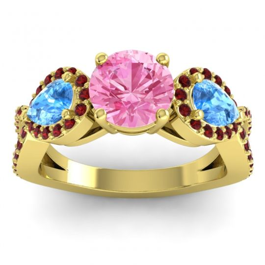 Pink Tourmaline Three Stone Pave Varsa Ring with Swiss Blue Topaz and Garnet in 18k Yellow Gold