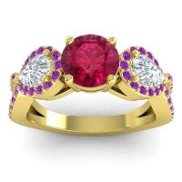 Three Stone Pave Varsa Ruby Ring with Diamond and Amethyst in 18k Yellow Gold