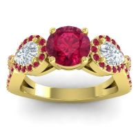 Three Stone Pave Varsa Ruby Ring with Diamond in 14k Yellow Gold