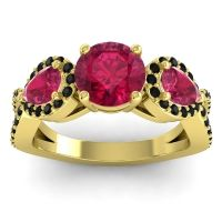 Three Stone Pave Varsa Ruby Ring with Black Onyx in 14k Yellow Gold