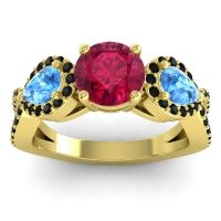 Three Stone Pave Varsa Ruby Ring with Swiss Blue Topaz and Black Onyx in 14k Yellow Gold