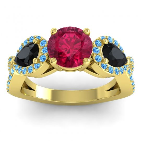 Three Stone Pave Varsa Ruby Ring with Black Onyx and Swiss Blue Topaz in 18k Yellow Gold