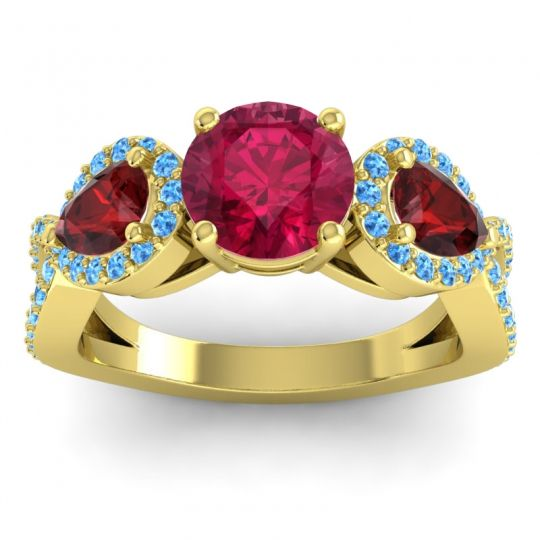 Three Stone Pave Varsa Ruby Ring with Garnet and Swiss Blue Topaz in 18k Yellow Gold