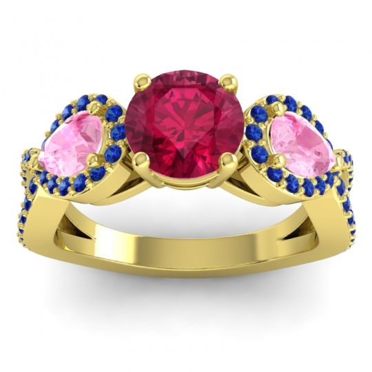 Three Stone Pave Varsa Ruby Ring with Pink Tourmaline and Blue Sapphire in 14k Yellow Gold