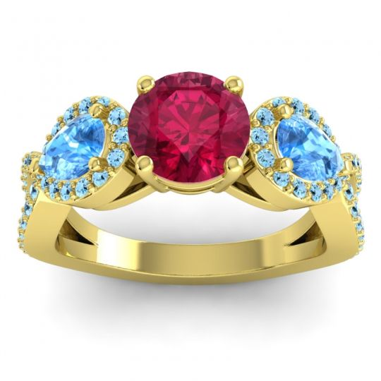 Three Stone Pave Varsa Ruby Ring with Swiss Blue Topaz and Aquamarine in 14k Yellow Gold