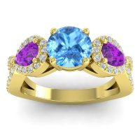 Three Stone Pave Varsa Swiss Blue Topaz Ring with Amethyst and Diamond in 14k Yellow Gold