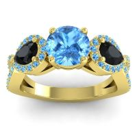 Three Stone Pave Varsa Swiss Blue Topaz Ring with Black Onyx in 14k Yellow Gold
