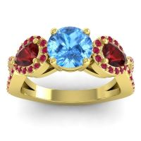 Three Stone Pave Varsa Swiss Blue Topaz Ring with Garnet and Ruby in 18k Yellow Gold
