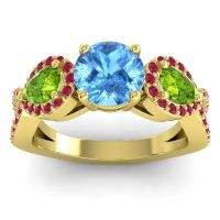 Three Stone Pave Varsa Swiss Blue Topaz Ring with Peridot and Ruby in 14k Yellow Gold