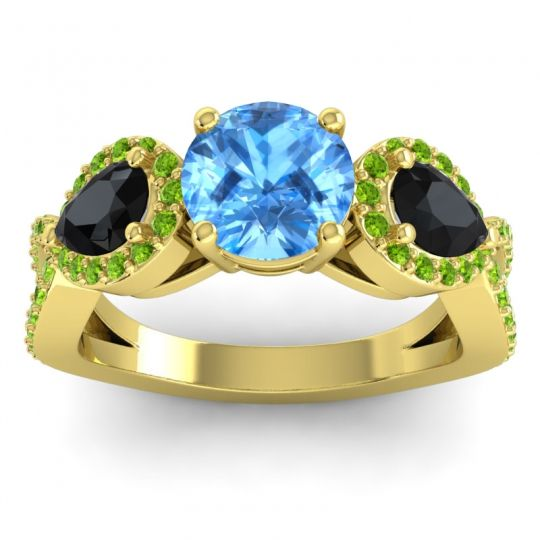 Three Stone Pave Varsa Swiss Blue Topaz Ring with Black Onyx and Peridot in 14k Yellow Gold