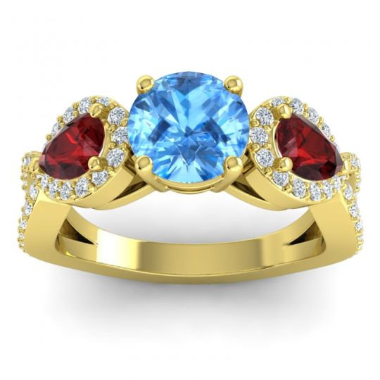 Three Stone Pave Varsa Swiss Blue Topaz Ring with Garnet and Diamond in 14k Yellow Gold