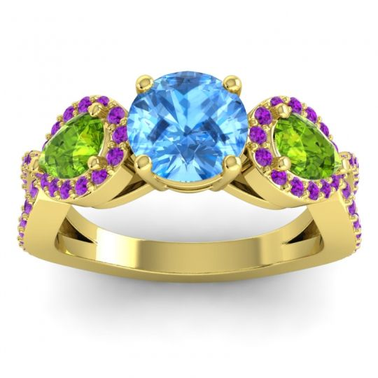 Three Stone Pave Varsa Swiss Blue Topaz Ring with Peridot and Amethyst in 18k Yellow Gold
