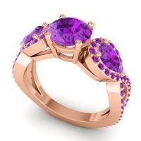 Three Stone Pave Varsa Amethyst Ring in 18K Rose Gold