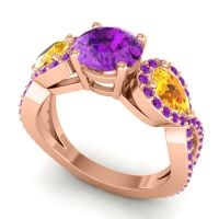 Three Stone Pave Varsa Amethyst Ring with Citrine in 14K Rose Gold