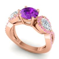 Three Stone Pave Varsa Amethyst Ring with Diamond and Pink Tourmaline in 14K Rose Gold
