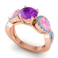 Three Stone Pave Varsa Amethyst Ring with Pink Tourmaline and Swiss Blue Topaz in 14K Rose Gold