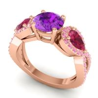 Three Stone Pave Varsa Amethyst Ring with Ruby and Pink Tourmaline in 18K Rose Gold