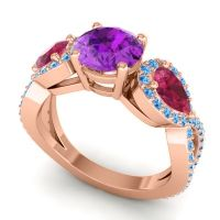 Three Stone Pave Varsa Amethyst Ring with Ruby and Swiss Blue Topaz in 18K Rose Gold