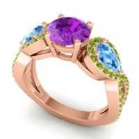 Three Stone Pave Varsa Amethyst Ring with Swiss Blue Topaz and Peridot in 14K Rose Gold