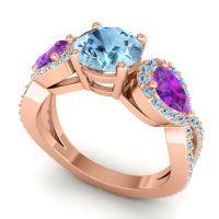 Three Stone Pave Varsa Aquamarine Ring with Amethyst in 18K Rose Gold