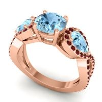 Three Stone Pave Varsa Aquamarine Ring with Garnet in 18K Rose Gold